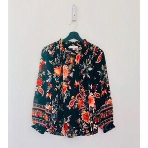 LOFT | Black Floral Print Blouse